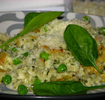Baked Risotto with Spinach, Peas & Lemon
