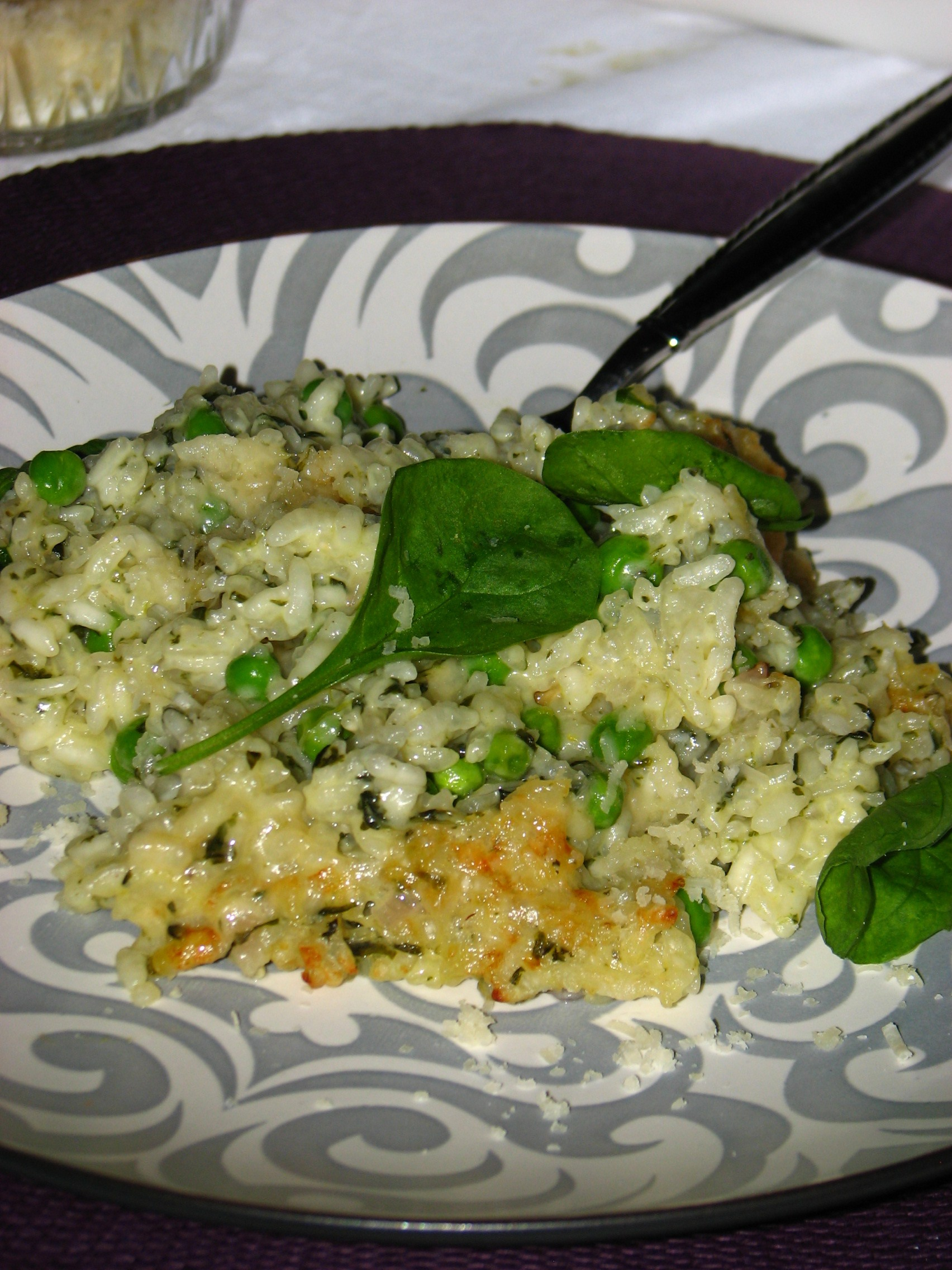 Baked Risotto with Spinach, Peas & Lemon - Simply Delicious
