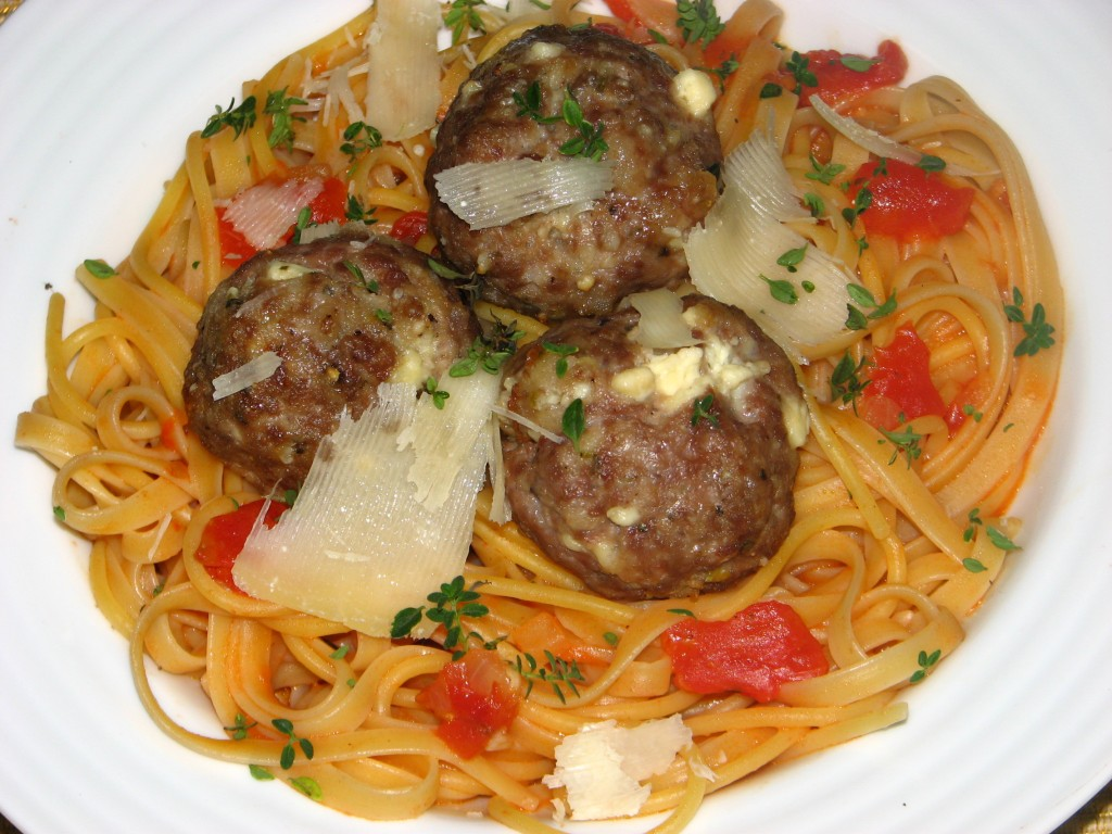 Greek Meatballs with Tomato Linguini