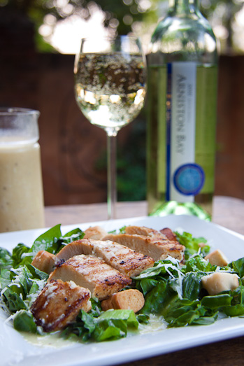 Grilled Chicken on Caesar Salad