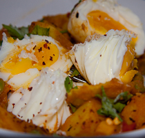 Potato Curry with Poached Eggs