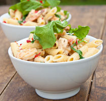 Penne with Salmon & Prawns