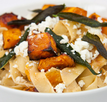 Fettucini with roasted butternut, sage and goat's cheese