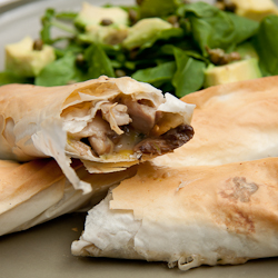 Chicken, Mushroom  Leek Phyllo rollsSimply Delicious