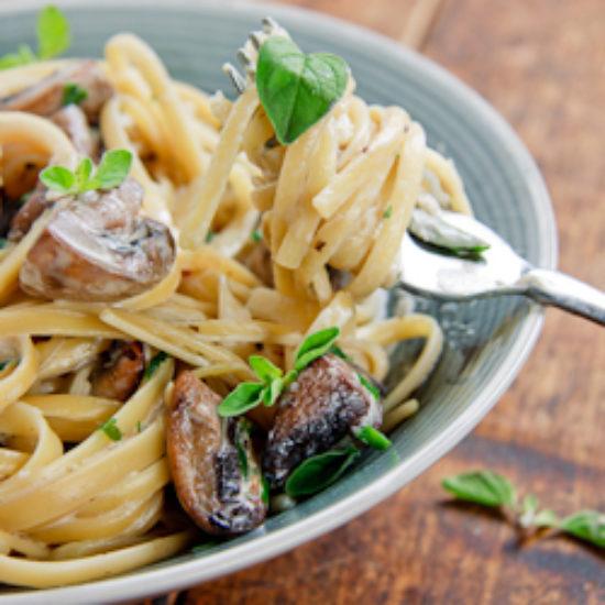Garlic mushroom linguine