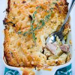 Baked Fussili pasta with Ham and Cheese