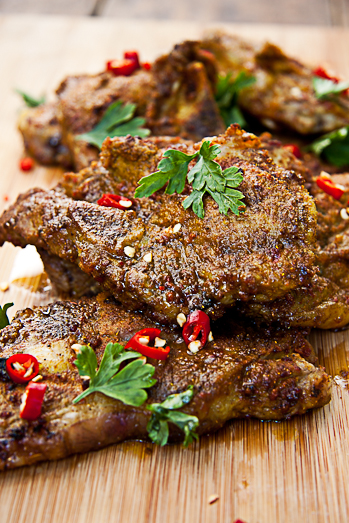 Indian Spiced Lamb Chops with Cucumber Salad