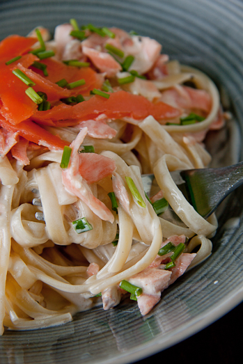 Lighter Smoked Salmon Pasta