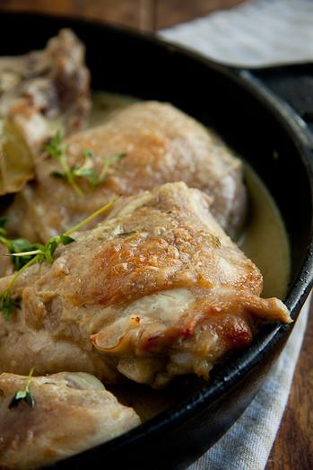 Chicken braised in white wine and cream