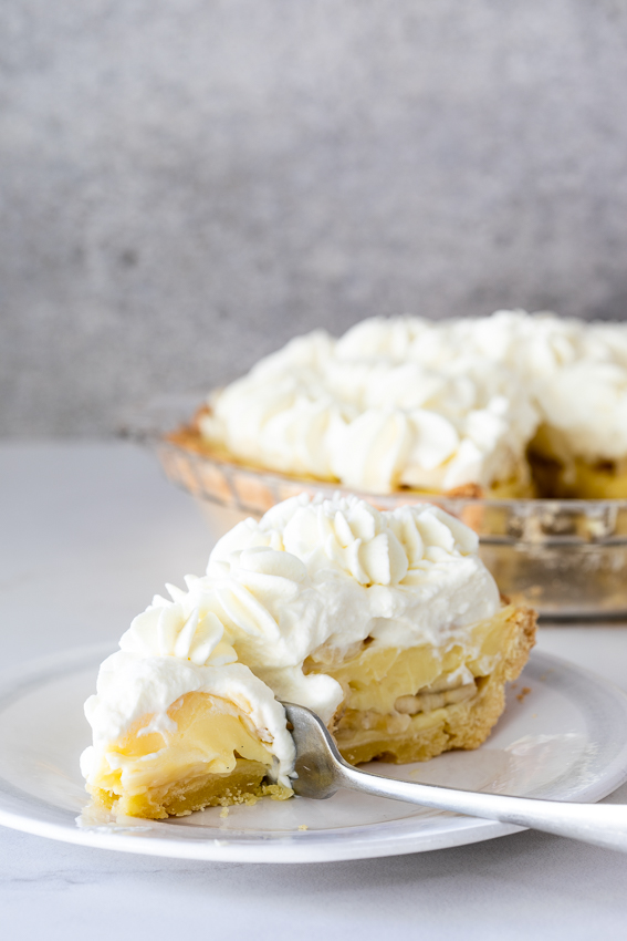 Banana cream pie with homemade custard.