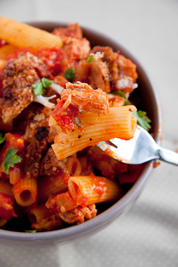 Roast Pork in spicy tomato sauce on pasta