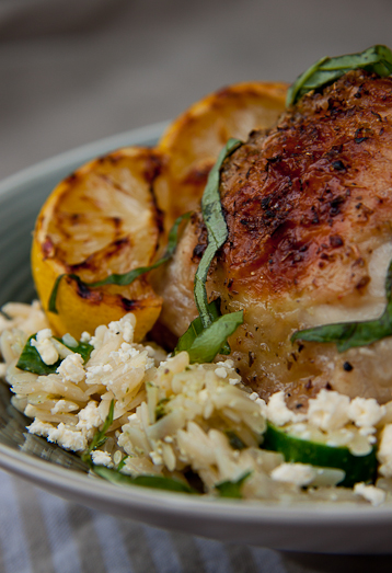 Lemony Chicken on Orzo salad