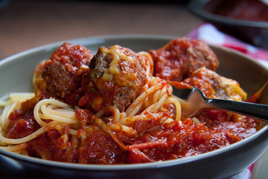 Cheesy Meatballs in Tomato Sauce