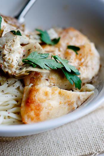 angel hair pasta with chicken & artichokes