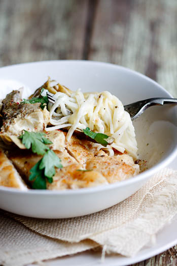 angel hair pasta with chicken & artichokes