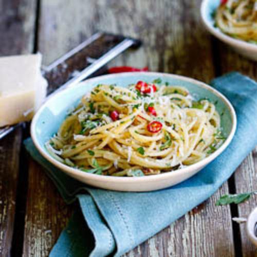 Spaghetti with Anchovies, garlic, lemon & Chilli
