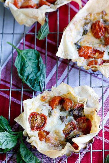 Crispy Phyllo tarts with tomatoes, mozzarella & anchovies