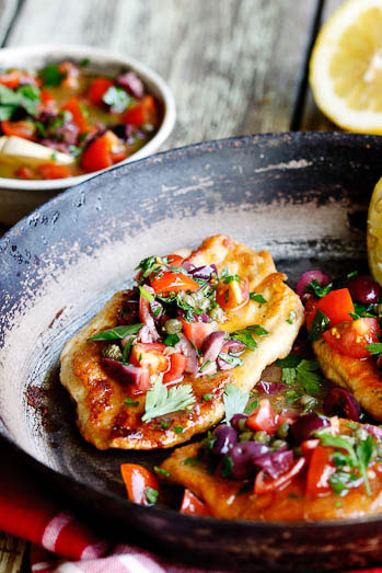 chicken escalopes with olive caper tomato dressing simply delicious. Black Bedroom Furniture Sets. Home Design Ideas