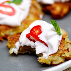 Potato rosti with Taramosalata, chilli & mint