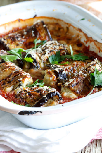 Aubergine Involtini with Herbed Ricotta