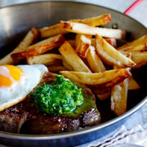 Steak & Egg with herbed chilli-butter