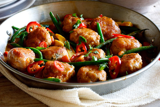 ... / Recipes / Chicken / Thai Chicken Meatball Curry with Jasmine Rice