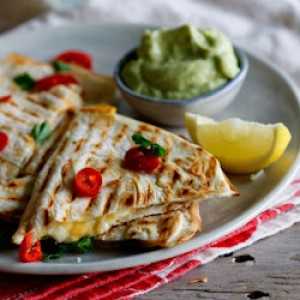 Spicy chicken & Feta quesidillas with guacamole