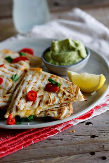 Spicy chicken & Feta quesidillas with guacamole