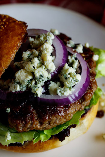 Beef Burgers with Bacon Jam & Gorgonzola