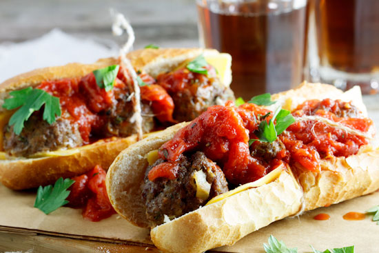 Meatball Sub with spicy tomato relish