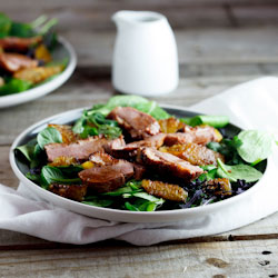 Warm Asian Duck salad with Caramelised Oranges