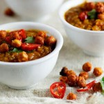 Spicy Lentil & Coconut soup with Roasted Chickpeas