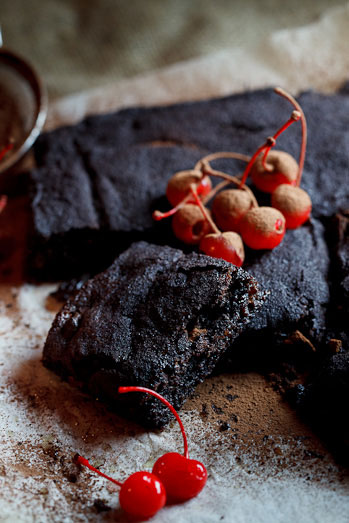 Chocolate Brownies with Cherries soaked in Balsamic Vinegar