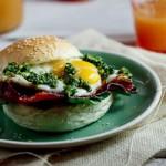 Bacon & Egg rolls with pesto