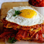 Potato Rösti, Bacon & Egg stacks with Tomato relish