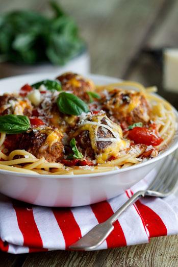 cheesy baked meatballs in tomato sauce