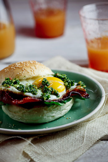 Bacon & Egg rolls with chilli & almond pesto