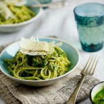 Spaghetti with rocket, spinach & pecan pesto