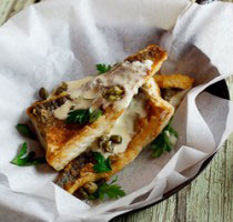 Pan-fried fish with lemon-cream sauce