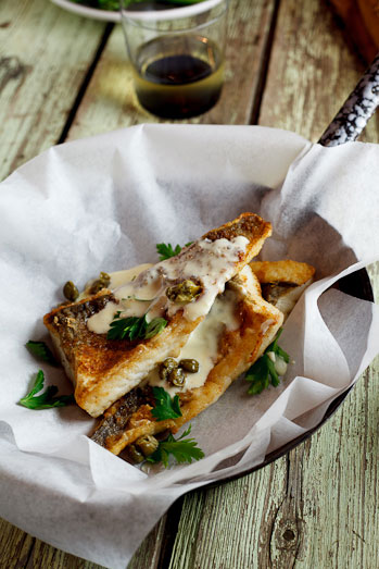 Pan-fried fish with lemon-cream sauce