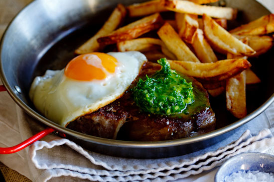 Steak & egg with herbed chilli butter