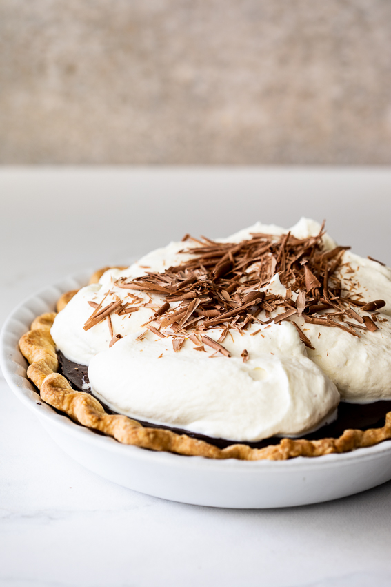 Chocolate cream pie with homemade pie crust