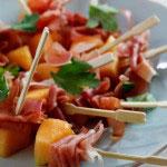 melon prosciutto skewers