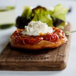 Starters & Canapés: Tomato Tarte Tatin with Goat's cheese Crème.