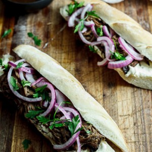 Slow-roasted Balsamic beef sandwiches