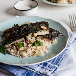Oven-grilled fish with Lemon Pilaf