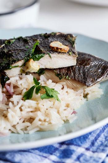 Grilled fish on Lemon Pilaf