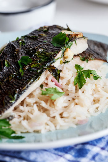 Grilled fish on Lemon Pilaf