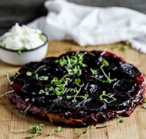 Beetroot Tarte Tatin with Goat's cheese cream