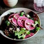 Candy-stripe beetroot salad with candied pecans and goat's cheese